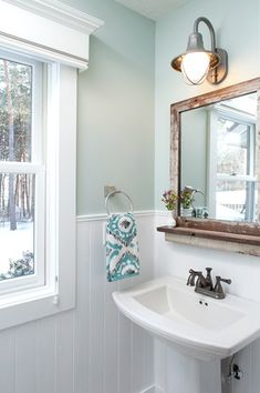 Country Powder Room with Paintable white beadboard, Brushed nickel bathroom towel ring, Wainscotting, Pedestal sink Rustic Powder Room, Modern Powder Rooms, Coastal Powder Room, Pedestal Sink Bathroom, Master Bathroom, White Bathroom, Mirror Bathroom, Bead Board Bathroom, Pedistal Sink