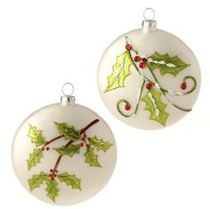 RAZ Christmas Conservatory 4 Inch White Flat Disk Ornament with Holly Design set of 2 shelleybhomeandholiday