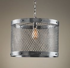 Restoration Hardware Knock-off Steel Mesh Pendant Kristi was inspired… Industrial Chandelier, Pendant Chandelier, Pendant Light Fixtures, Industrial Lighting, Modern Industrial, Light Pendant, Pendant Lighting, Restoration Hardware Lighting, Restoration Hardware Baby