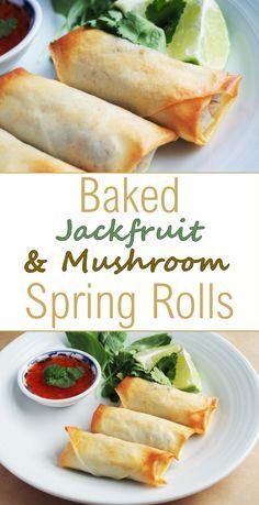 Baked Jackfruit & Mushroom Spring Rolls - suggests wheat roll sheets Veggie Recipes, Asian Recipes, Whole Food Recipes, Vegetarian Recipes, Cooking Recipes, Healthy Recipes, Vegan Foods, Vegan Recipes, Snacks