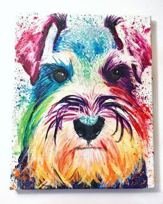 Custom Pet Portrait of Minature Shnauzer Schnauzer Pet Schnauzer Art, Miniature Schnauzer Puppies, Schnauzers, Vogel Quilt, Pop Art Posters, Dog Poster, Dog Paintings, Photo Canvas, Dog Portraits