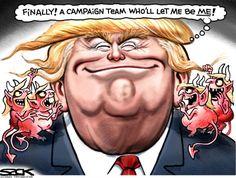 Political cartoon USelection 2016 Trump new campaign team