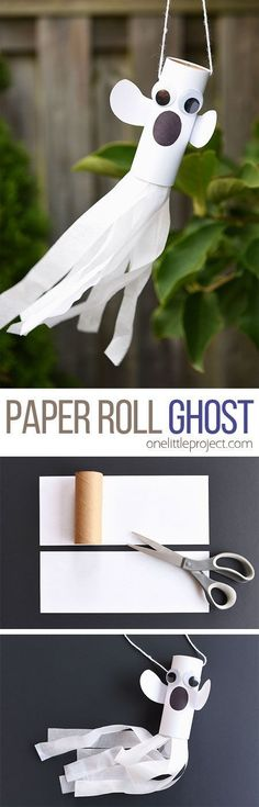 This paper roll ghost is SUCH a fun craft for Halloween! It\'s a super simple kids craft and makes a great Halloween decoration! The tail even blows in the wind! #craft #kidscraft #craftsforkids #preschool