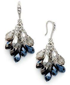 c.A.K.e. by Ali Khan Earrings, Silver-Tone Glass Bead Cluster Drop Earrings - Fashion Jewelry - Jewelry & Watches - Macy's