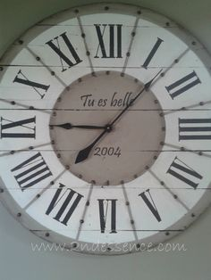 Tu es belle= You are beautiful  French custom made pallet clock