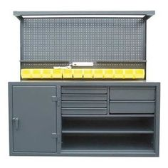 Cabinet Workstation, Steel Top, W 72, H 72 by Strong Hold. $3936.60. Workbench Cabinets12-ga. steel cabinets come fully assembled. Units are lockable with a 3-point locking system that accommodates a padlock (not included). Benches with drawers have a weight capacity of 400 lb. per drawer, based on evenly distributed loads.Cabinet Workstation, 12 Gauge Steel, Top Material 12 Gauge Steel, Top Width 72 In, Overall Bench Height 72 In, Overall Bench Depth 30 In, Includes 3 Adjustabl...