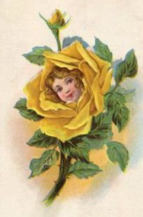 free vintage flowers yellow rose clip art with womans face Vintage Greeting Cards, Vintage Postcards, Vintage Images, Vintage Easter, Vintage Holiday, Vintage Clown, Images Victoriennes, Flower Pictures, Yellow Roses