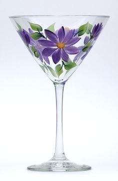 Purple Daisies Martini Glass