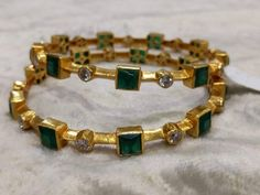 Traditional Pair of Bangles in Silver & Gold Polish with Emeralds and American Diamonds - Indian Jewelry for Occasions and Weddings Ruby Bangles, Silver Bracelets, Bangle Bracelets, Silver Earrings, Gold Necklace, Sterling Silver Jewelry, Gold Jewelry, Pandora Jewelry, 925 Silver