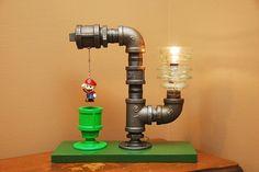 Light Up Your Room With The Mario Bros. Theme Industrial Pipe Lamp,Lámpara de Super Mario, edición tubería...