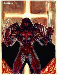 Azrael Dc Comics, Comic Character, Character Design, Pauls Valley, Dc Comics Characters, Suit Of Armor, Batman Family, Comic Games, Batman Art