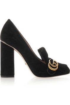 2f7d92d23  Gucci Heel measures approximately 105mm  4 inches Black suede Slip on Made  in Italy