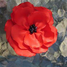 Beautiful Red Poppy Bobby Pin 3 inches Silk Prom by PoppyStream