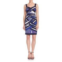 Tadashi Shoji Crisscross Multicolor Short Dress ($515) ❤ liked on Polyvore featuring dresses, apparel & accessories, floral print dress, v neck dress, blue floral dress, v neck mini dress and mini dress