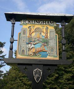 The Village Sign for Icklingham, Suffolk, England British Pub, British Isles, Great Britain United Kingdom, Europe Street, Pub Design, Old Pub, English Village, Farm Signs, My Kind Of Town