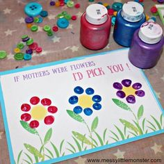 Mother's day card craft for kids with free printable 'If mothers were flower' template. A cute fingerprint keepsake for mom. Easy enough for toddlers and preschoolers. for mom flowers Mothers Day Card Printable - A fingerprint keepsake for mom Mothers Day Crafts Preschool, New Baby Crafts, Grandparents Day Crafts, Easy Mother's Day Crafts, Diy Mothers Day Gifts, Daycare Crafts, Fathers Day Crafts, Mothers Day Card Kids, Easy Mothers Day Crafts For Toddlers