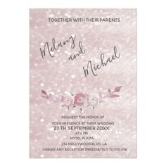 Glittery bokeh pale pink watercolor boho roses card - tap to personalize and get yours Watercolor Wedding Invitations, Wedding Invitation Cards, Wedding Cards, Diy Wedding, Invitation Card Design, Custom Invitations, Pink Watercolor, Your Turn, Bokeh