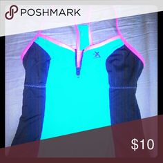 🎃Throw back swim top Reminds me of Barbi swim wear from when I was a kid! Only worn twice. Very supportive. Some decorative stitching is coming undone the front blue part. Doesn't effect wear. Bright teal/blue.  Fall  sale buy one get one half price on ALL items! ZeroXposur Swim