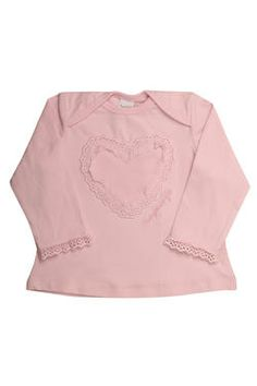 Newborn girls top with a gorgeous mesh heart and frill detail. From Naartjie Kids SA.