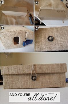 oh whimsical me: Custom Burlap Box from a Shoe Box Burlap Crafts, Diy And Crafts, Diy Storage Containers, Shoe Box Storage, Fabric Covered Boxes, Cardboard Box Crafts, Craft Organization, Organizing, Diy Box
