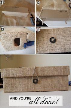 oh whimsical me: Custom Burlap Box from a Shoe Box