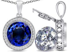 Switch-It Gems 2in1 Round 10mm Simulated Sapphire Pendant with Interchangeable Simulated Diamond Included - 308247
