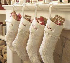 Cream knitted personalised stockings... Love