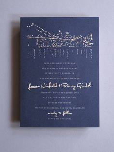 Silver Foil Nighttime Cityscape Invitation by Thomas Printers