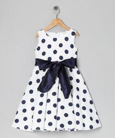 Look at this #zulilyfind! Navy & White Polka Dot Bow Dress - Toddler  & Girls by Kid Fashion #zulilyfinds
