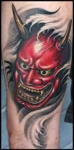 Japanese Hannya Mask Tattoo Angry Back