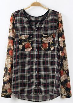Black Contrast Floral Long Sleeve Pockets Plaid Blouse - Sheinside.com