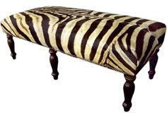 1st dibs Suzy q, better decorating bible blog, diy, custom, upholstered bench, end, bed, studded, zebra, how to, project, instructions, plan...