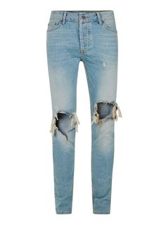 Light Wash Blue Extreme Ripped Stretch Skinny Jeans
