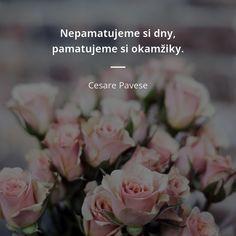 Nepamatujeme si dny, pamatujeme si okamžiky. - Cesare Pavese Story Quotes, True Words, True Stories, Bridesmaid, Motivation, Motto, Style, Maid Of Honour, Swag