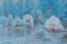 Cloudy mornig 40×60 cm acrylic, str. canvas By: Erzsébet Baji Canvas, Painting, Art, Tela, Art Background, Painting Art, Kunst, Canvases, Paintings