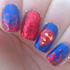 I asked you guys a week ago what I should put overtop of the blue, and a few people said superman so here they are I really like these! Oh and I have square nails again