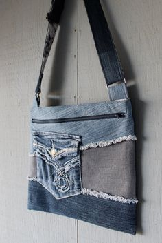 Denim Cross Body with Frayed Denim Patchwork, Front Pocket, Large Front Zipper Pocket with a Blue, Gray, Black and White Floral Print by AllintheJeans on Etsy