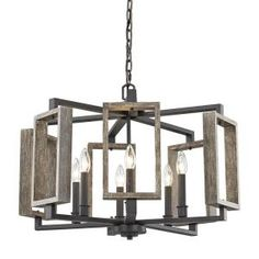 Fifth and Main Lighting 6-Light Aged Bronze Pendant with Wood Accents HD-1253 at The Home Depot - Mobile
