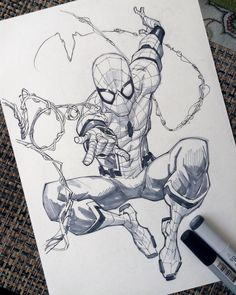 Spiderman Homecoming by rogercruz on DeviantArt Superhero Sketches, Drawing Superheroes, Marvel Drawings, Cool Drawings, Spiderman Drawing, Spiderman Kunst, Spiderman Tattoo, Comic Books Art, Comic Art