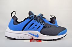 NEW Nike Air Presto Essential PHOTO BLUE BLACK 848187-005 sz 9 MEN Yellow Shoes, Blue Shoes, Men's Shoes, Shoes Sneakers, Shoes Style, Latest Nike Shoes, Air Max Sneakers, Adidas Sneakers, Jogging Shoes