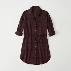 Abercrombie & Fitch Shirt Dress ($41) ❤ liked on Polyvore featuring dresses, burgundy, petite dresses, abercrombie fitch dresses, burgundy dress, curved hem dress and round hem dress