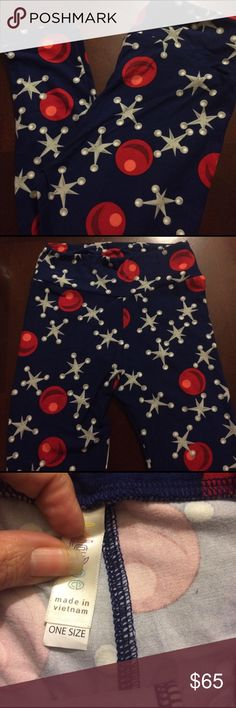 Unicorn! Marbles and Jacks LuLaRoe OS Leggings Vibrant dark blue background with silver jacks and red marbles.Sooo soft. For some reason, these feel even more buttery than my other pairs! Made in Vietnam.NWOT. Consultants have stopped mailing cards when you order more than one pair. OS unicorn Print - HTF LuLaRoe Pants Leggings