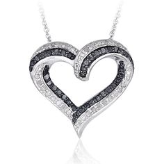 DB Designs Silvertone 1/2ct TDW Diamond Open Heart Necklace ($42) ❤ liked on Polyvore featuring jewelry, necklaces, white, diamond stud necklace, open heart necklace, round pendant necklace, open heart diamond necklace and round diamond pendant