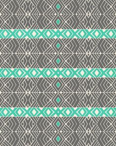 Going Tribal Art Print >>> The turquoise really stands out to me and the print keeps me interested. I could see this being used on a bed spread.