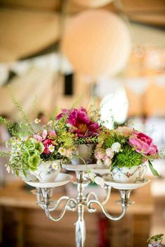 gorgeous wedding centerpiece for rustic or vintage wedding