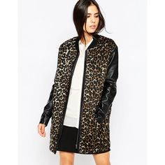 b.Young Corrina Leopard Jacket With Contrast PU Sleeves ($98) ❤ liked on Polyvore featuring outerwear, jackets, sandstone, white jacket, pu jacket, tall jackets, b.young and white zip jacket