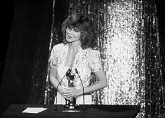 """Sally Field accepting her Oscar for her performance as Norma Rae Webster in the film """"Norma Rae,"""" 1979."""
