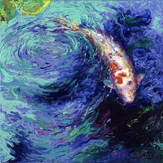 Official website of Iris Scott, finger painting artist working in Brooklyn NY. Koi Painting, Artist Painting, Painting Prints, Art Koi, Fish Art, Finger Paint Art, Finger Painting, Stretched Canvas Prints, Canvas Art Prints