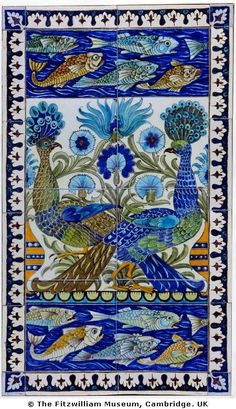 William De Morgan (1839-1917) was the most important ceramic artist of the Arts  Crafts movement. A close friend of William Morris, he produced tiles and ceramics that complemented Morris  Co.'s popular textiles and wallpapers. (I am embroidering this right now! Renata)