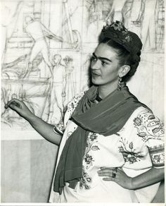 Pan American Unity mural, in the Auditorium of San Francisco City College.  California, 1940.  Photo: Wittlock  Frida Kahlo Museum Collection  © Bank of Mexico